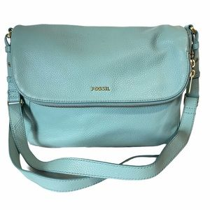 FOSSIL PRESTON Blue Leather Large Crossbody Bag